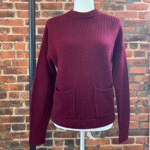 ANN TAYLOR WINE RED THICK KNIT SWEATER W/ POCKETS